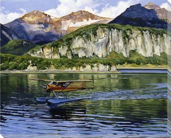 Being There Plane on a Lake Scene Wrapped Canvas Giclee Print