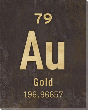 Gold - Periodic Table of Elements Wrapped Canvas Giclee Print