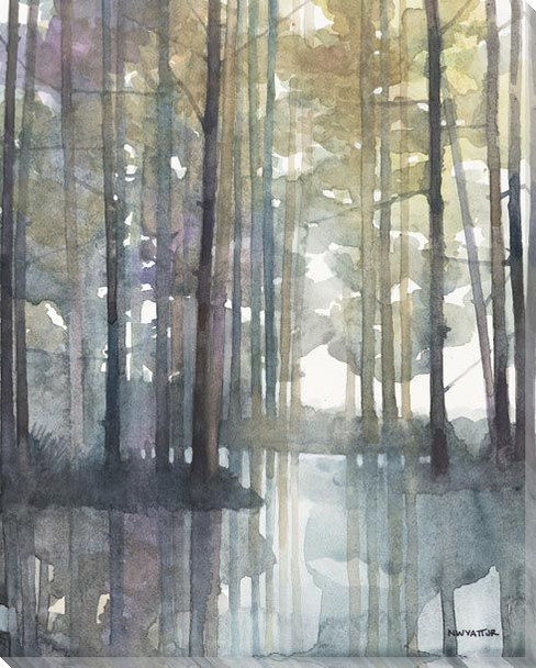 Reflecting Creek Trees Wrapped Canvas Giclee Art Print Wall Art