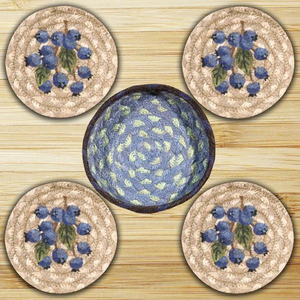 Blueberry Braided Jute Coasters and Basket Holder, Set of 10