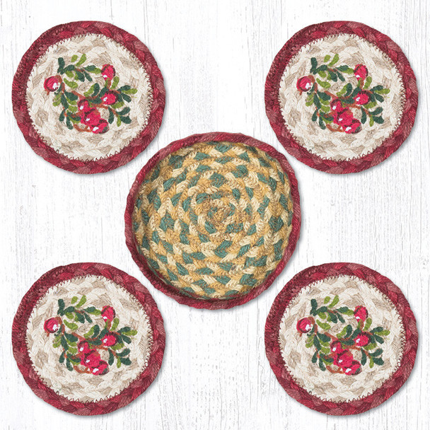 Cranberries Braided Jute Coasters and Basket Holder, Set of 10