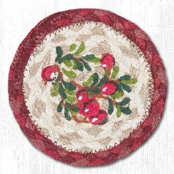 Cranberries Braided Jute Coasters Harry W. Smith, Set of 8