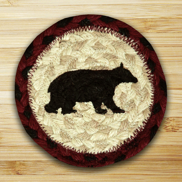 Cabin Bear Braided Jute Coasters, Set of 8