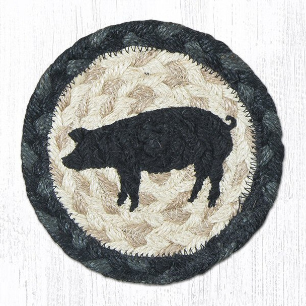 Pig Silhouette Braided Jute Coasters, Set of 8