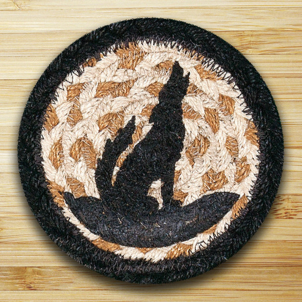 Howling Coyote Silhouette Braided Jute Coasters, Set of 8