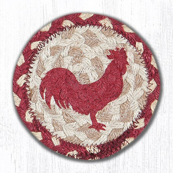 Red Rooster Bird Braided Jute Coasters, Set of 8
