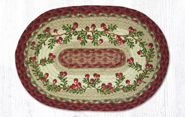 Cranberries Braided Jute Oval Placemats by Harry W. Smith, Set of 2