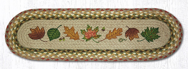 "8.25"" x 27"" Autumn Leaves Braided Jute Oval Stair Tread Rugs, Set of 2"
