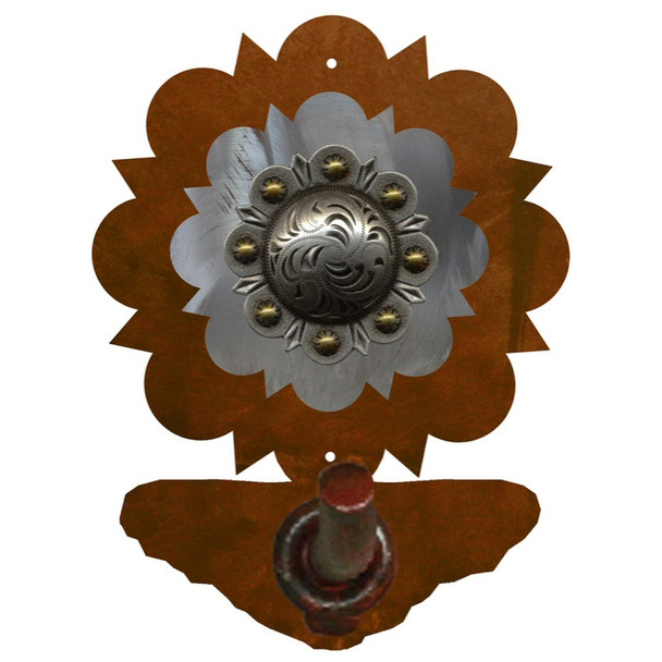 Burnished Round Old Silver Berry Concho Metal Robe Hook