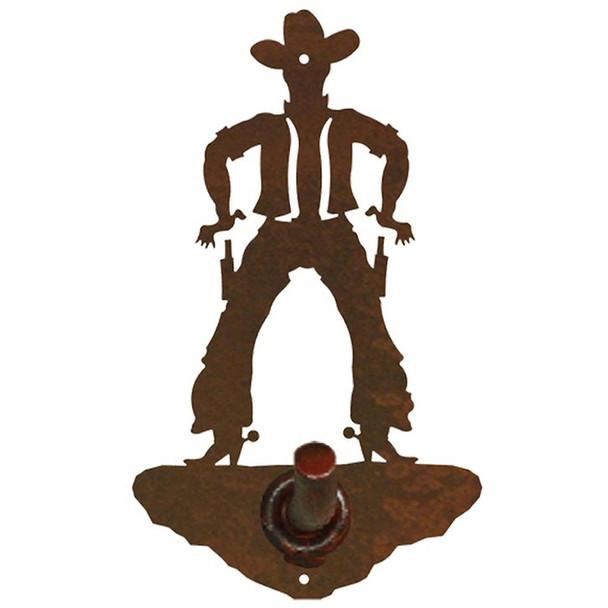 Cowboy Drawing Pistol Metal Robe Hook