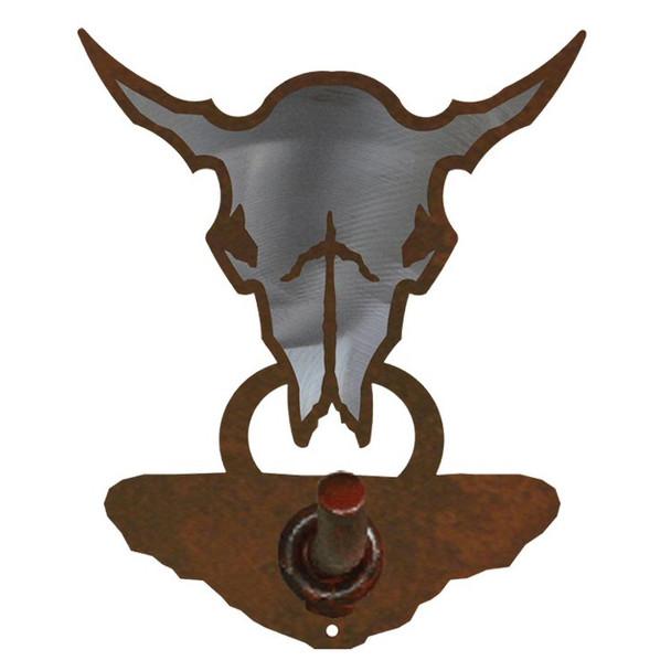 Burnished Buffalo Skull Metal Robe Hook