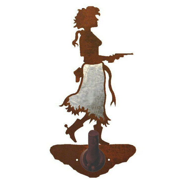 Burnished Cowgirl with Pistol Metal Robe Hook