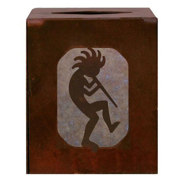 Kokopelli Metal Boutique Tissue Box Cover