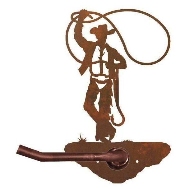 Cowboy Roping Metal Toilet Paper Holder