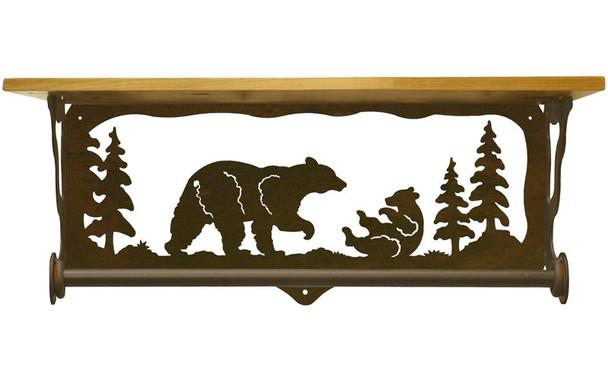 "20"" Bear Family Scene Metal Towel Bar with Pine Wood Top Wall Shelf"