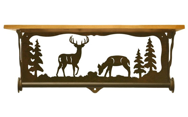 "20"" Deer Family Scene Metal Towel Bar with Alder Wood Top Wall Shelf"
