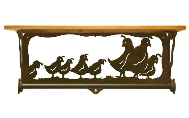 "20"" Quail Family Scene Metal Towel Bar with Alder Wood Top Wall Shelf"
