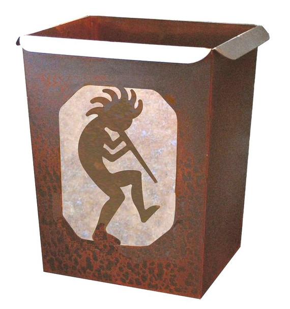 Kokopelli Metal Wastebasket Trash Can