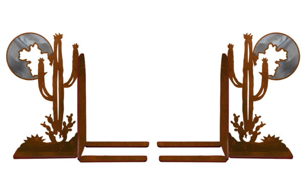 """6"""" Burnished Cactus Scene Metal Bookends"""