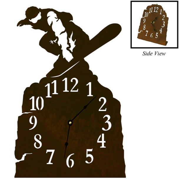 Snowboarder Metal Table Clock