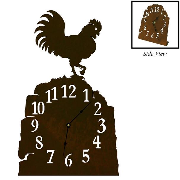 Rooster Bird Metal Table Clock
