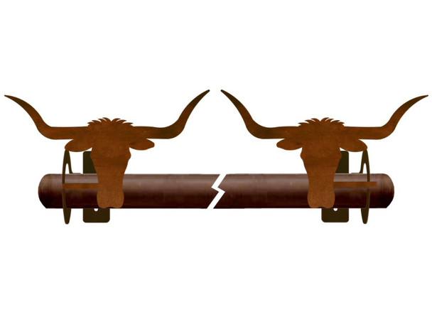Longhorn Steer Metal Curtain Rod Holders