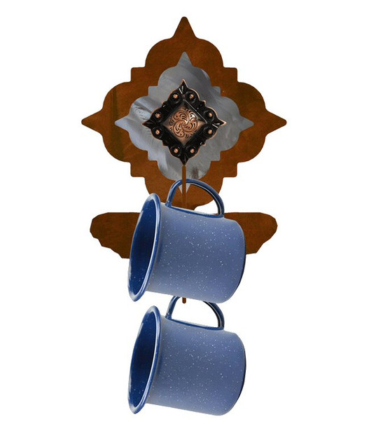 Copper Diamond Concho Metal Mug Holder Wall Rack