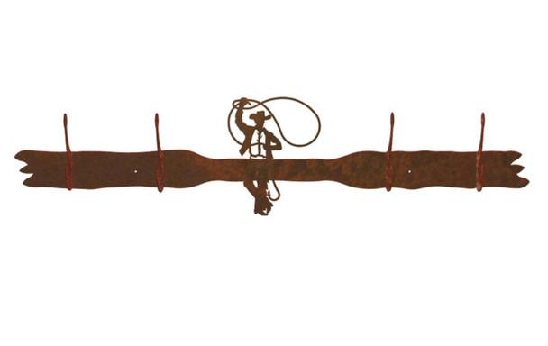 Roping Cowboy Four Hook Metal Wall Coat Rack