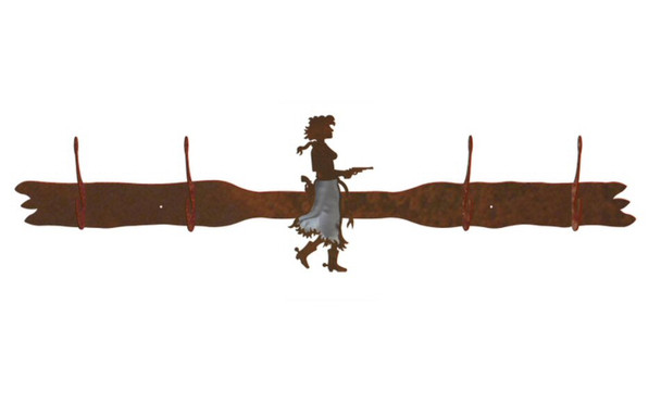 Burnished Cowgirl with Pistol Four Hook Metal Wall Coat Rack