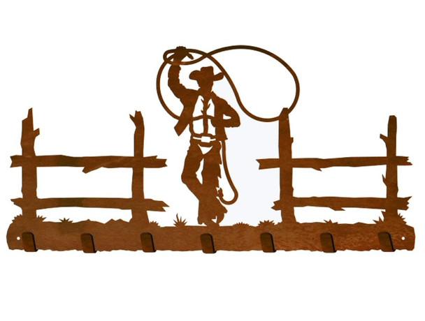 Cowboy Roping Metal Wall Key Rack