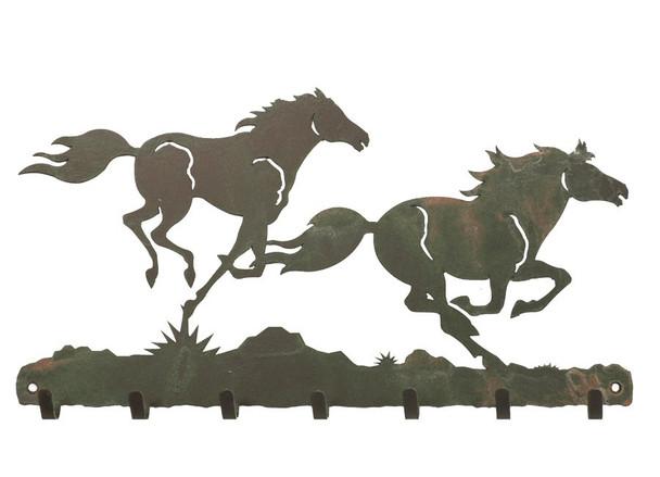Running Wild Horses Metal Wall Key Rack