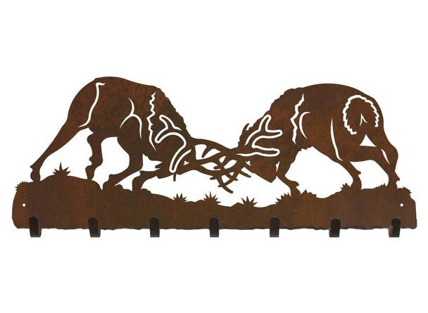 Fighting Elk Metal Wall Key Rack