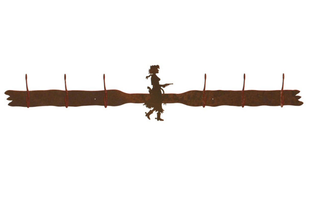 Cowgirl with Pistol Six Hook Metal Wall Coat Rack