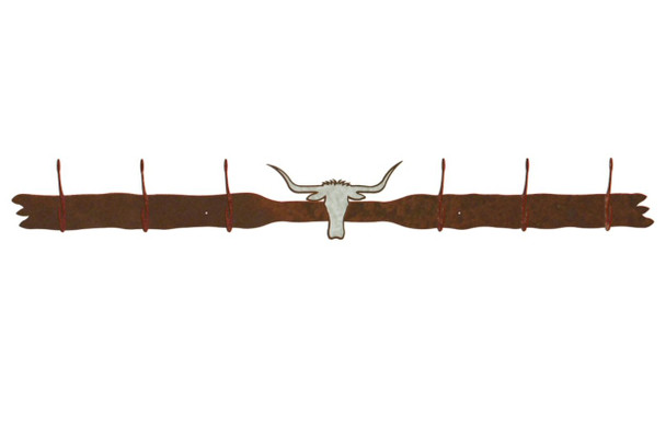 Burnished Longhorn Steer Six Hook Metal Wall Coat Rack