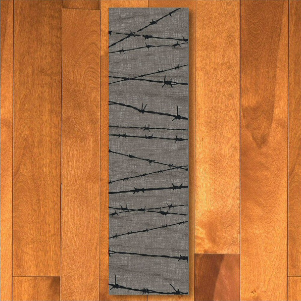 2' x 8' Barbed Wire Natural Western Rectangle Runner Rug