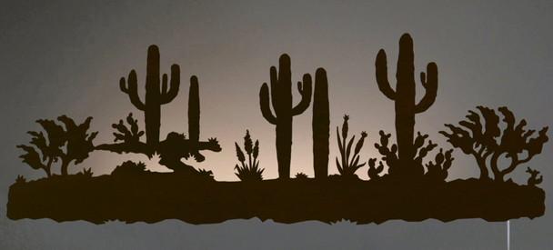 """42"""" Desert Scene LED Back Lit Lighted Metal Wall Art"""
