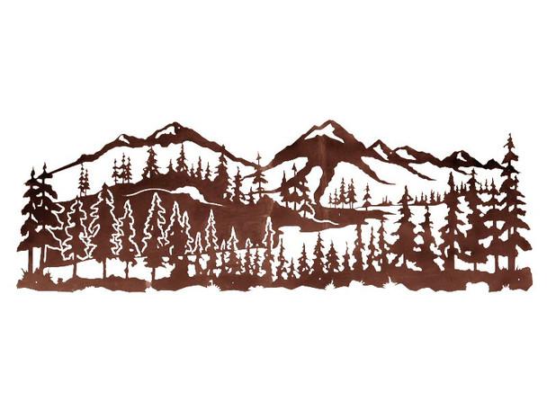 "84"" Mountain Scene with Pine Trees Metal Wall Art"