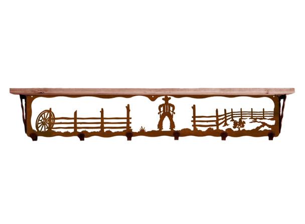 "42"" Cowboy Scene Metal Wall Shelf and Hooks with Pine Wood Top"