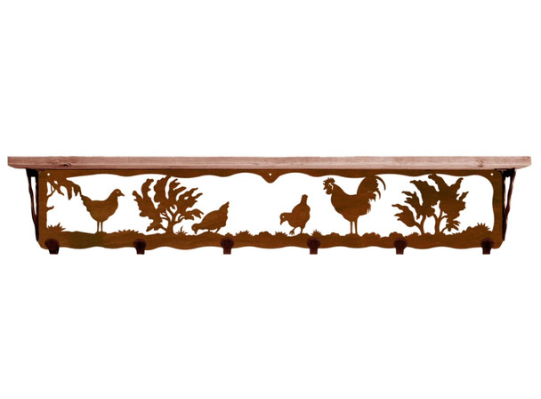 """42"""" Rooster Bird Metal Wall Shelf and Hooks with Pine Wood Top"""
