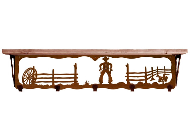 """34"""" Cowboy Scene Metal Wall Shelf and Hooks with Alder Wood Top"""