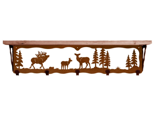 "34"" Elk Family Metal Wall Shelf and Hooks with Alder Wood Top"