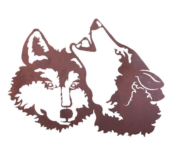 """30"""" Two Wolves Metal Wall Art"""