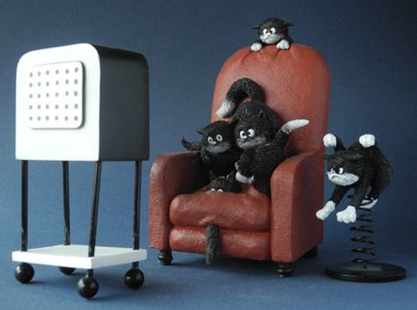 Cats Watching a Horror Movie Cat Statue by Albert Dubout