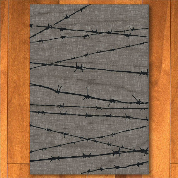 4' x 5' Barbed Wire Natural Western Rectangle Rug