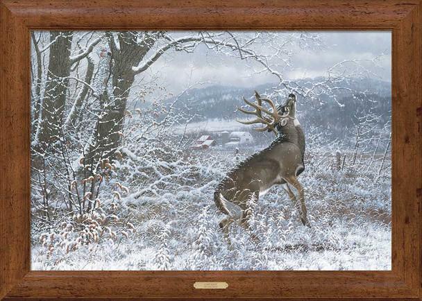 Chip Shot Whitetail Deer Framed Canvas Art Print Wall Art