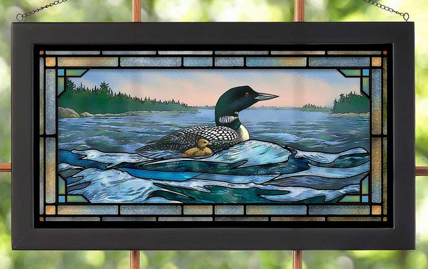 Rough Water Loon Stained Glass Wall Art