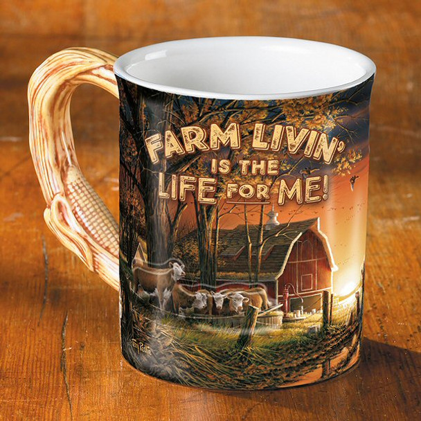 167b3897d69 Farm Living is the Life for Me! Sculpted Stoneware Coffee Mugs, Set ...