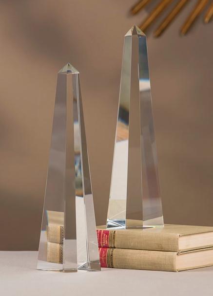 Crystal Diamond Shape Obelisk Sculpture, Set of 2