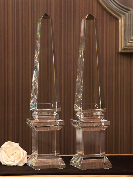 """16"""" Crystal Pedestal Obelisk Sculpture, Set of 2"""