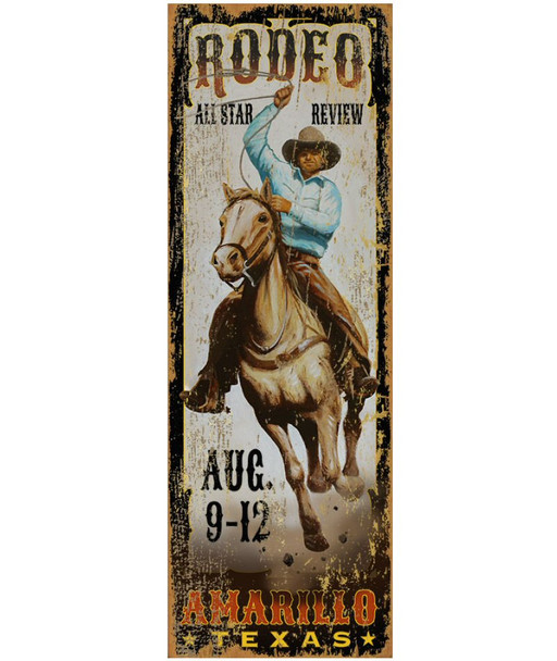 Custom Amarillo All Star Rodeo Vintage Style Metal Sign